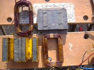 The 2 coils and core kapton taped ready for assembly