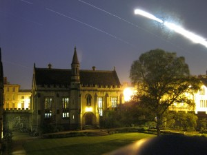 Composite of 4.5 hours worth of photos of Magdalen College library, showing star and moon trails