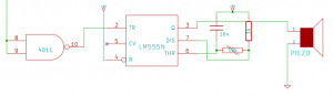 The final part of the circuit consisting of an oscillator and transducer